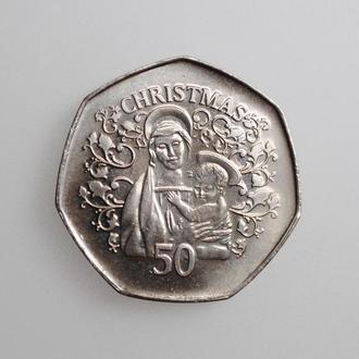 """Гибралтар 50 пенсов 2005 г., UNC, """"Рождество"""""""
