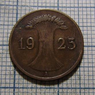 Германия, Веймарская республика, 1 рейхспфенниг 1925 г. (А)