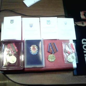 Набор медалей с удостоверениями.