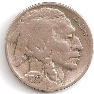 Монета 5 центов (США) 1937 Бизон (Индеец) (4)