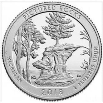25 центов  Национальный парк Пикчерд Рокс , Мичиган  41-й  парк 2018 ,  25 центов 2018 Пикчерд Рокс