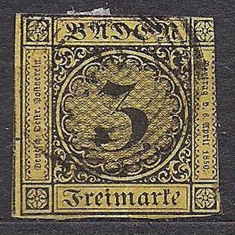 Баден, 1851-52 гг., немецкие земли, марка № 2 а.