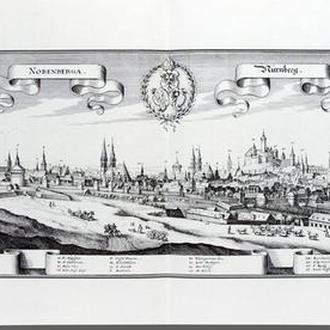 Старинная гравюра на бумаге верже Вид на Нюрнберг, 1648, M. Merian