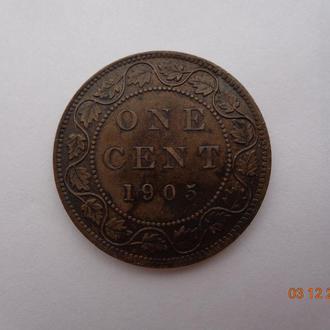 Канада 1 цент 1905 (KM#528) Edward VII отличное состояние очень редкая