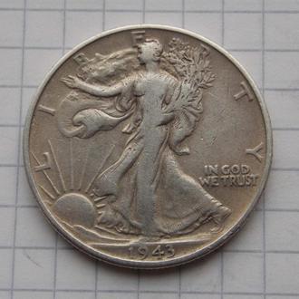 1/2 доллара Шагающая Свобода 1943 года, США. Серебро, оригинал.