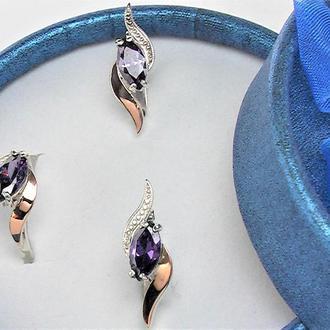 Набор серьги кольцо перстень 16,5 размер серебро 925 проба 6,43 грамма вставка золото 585 пр
