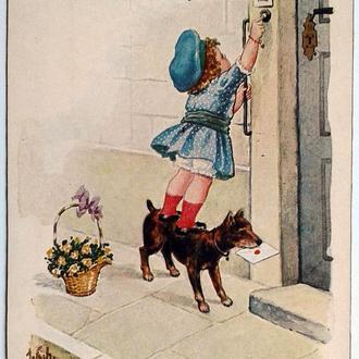 Открытка почтовая карточка С Днем рождения 1921 г. Fv8.2