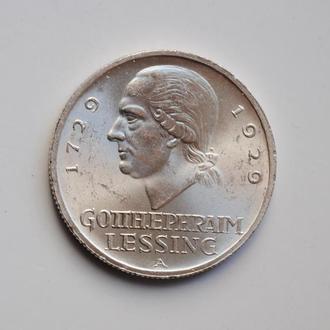 Веймар 3 марки 1929 г. А, BU, '200 лет со дня рождения Готхольда Лессинга'