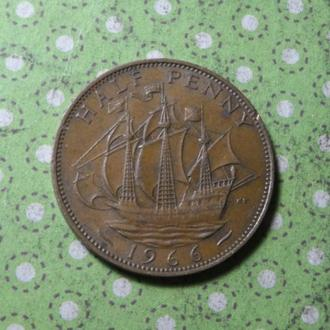 Великобритания 1966 год монета 1/2 пенни парусник