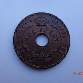 Британская Западная Африка 1 пенни 1952 George VI отличное состояние очень редкая