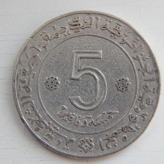 Алжир 5 динаров 1972г. 10 лет независимости