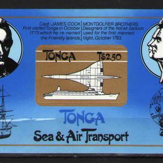 Тонга 1983 ** Корабли Парусники Самолеты Личности Мореплаватели Воздухоплаватели бл MNH