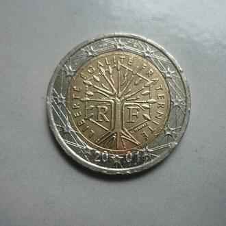 Франция  2 евро 2001 биметалл