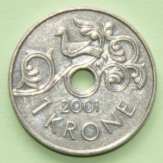 (А) Норвегия 1 крона, 2001
