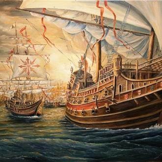 """Картина """"Выход эскадры"""" масло, холст 60х80 см."""