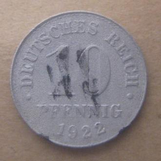 Германия 10 пфеннигов (PFENNIG) 1922 год