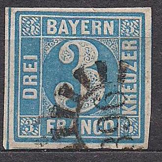 Бавария, немецкие земли, 1850 г., марка № 2, тип 2, platte 3