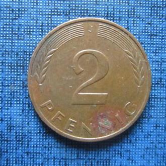 Монета 2 пфеннига ФРГ 1989 J
