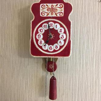 Часы ходики настенные механические Авторская роспись