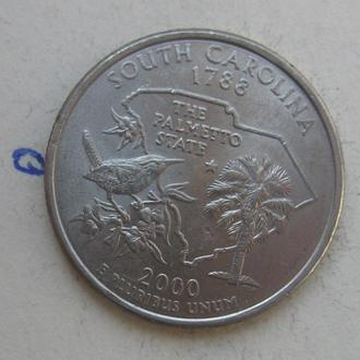 """США, 25 центов 2000 года (ЮЖНАЯ КАРОЛИНА) """"P""""."""