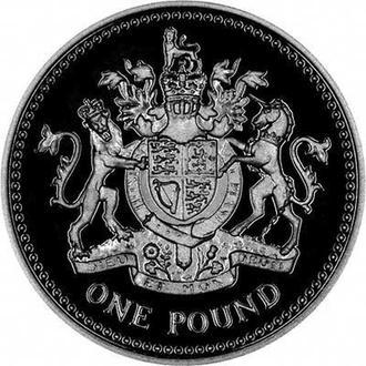 Набор 5 монет 1 фунт Великобритания 1983-1987