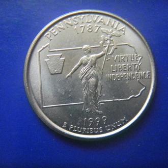 США 25 центов Пенсильвания D 1999