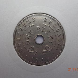 Южная Родезия 1 пенни 1936 George V отличное состояние редкая
