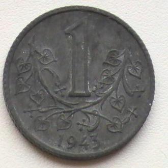 1 Крона 1943 г Богемия и Моравия 1 Крона 1943 р Богемія та Моравія