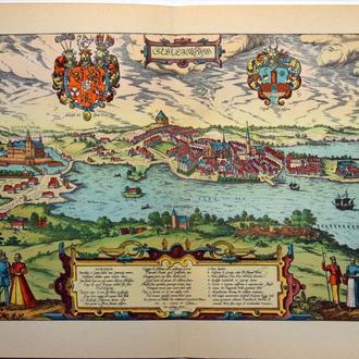 План карта Шлезвига  1570 г. копия 1938 года Лейпциг Fv8.9