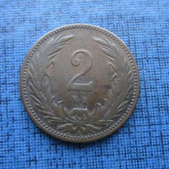 монета 2 филлера Австро-Венгрия 1896 для Венгрии