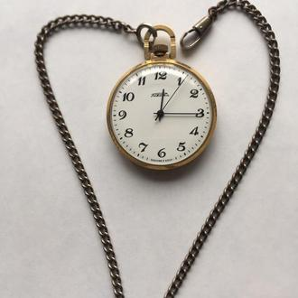Часы карманные Ракета Парусник позолота