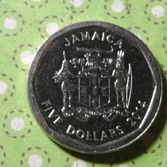 Ямайка 2014 год монета 5 долларов !