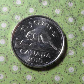 Канада 2016 год монета 5 центов