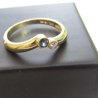 Кольцо золотое 585 пробы с сапфиром и бриллиантом