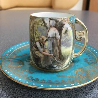 Фарфоровая кофейная чашка с блюдцем, Европа,