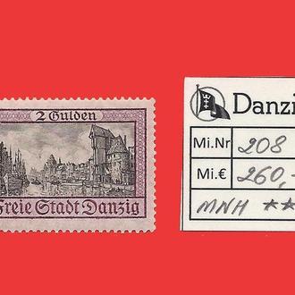 ✠ DANZIG Mi.208 MNH Є260,- 1924 ✠Данциг ✠Гданьск ✠ Надпечатка ✠ Германия ✠