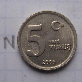 ТУРЦИЯ 5 куруш 2005 года.