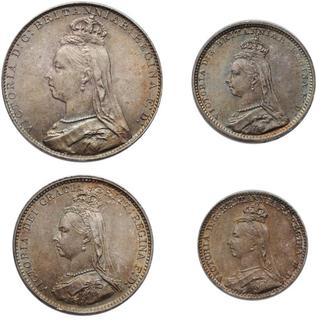 "Великобритания (Набор Монди) 1, 2, 3, 4 пенни 1889 г., UNC, ""Королева Виктория (1838 - 1901)"""