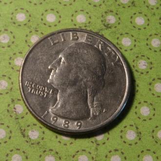 США 1989 год монета 25 центов Америка квотер P !