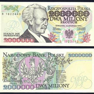 Польша 2000000 злотых 1993 UNC