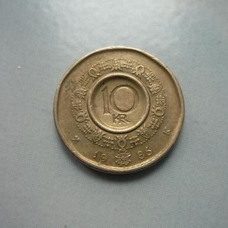 Норвегия 10 крон 1986