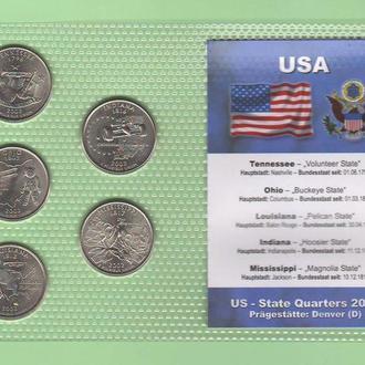 Набор квотер ов США 2002 год - D - пластик блистер запайка