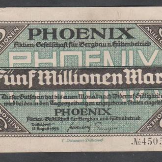 Германия. Гроссгельд. г.Дюссельдорф. 5 миллионов марок. 1923г.