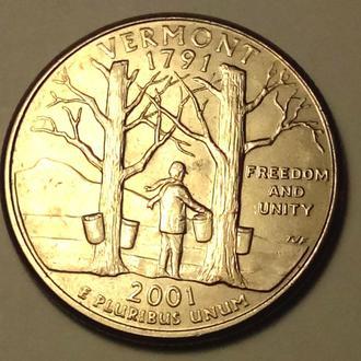 25 центов 2001года ( Р )  США !!!  а2