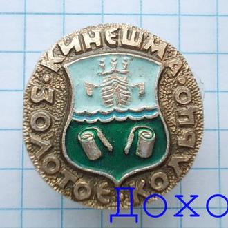 Значок Кинешма Золотое кольцо герб круглый