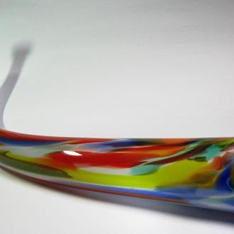 Рог изобилия Большой Огромный Цветное богемское стекло СССР Чехия