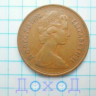 Монета Великобритания 2 пенса 1980 Бронза