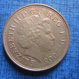 Монета 2 пенса Великобритания 2005
