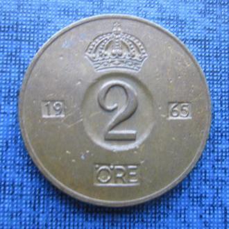 монета 2 эре Швеция 1965