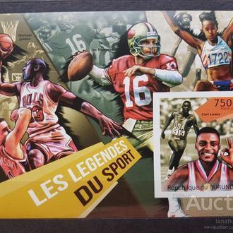 Бурунди 2012 спорт легенды чемпионы Карл Льюис Б/Зуб. блок**